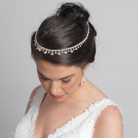 Rose Gold Clear Crystal Bridal Wedding Hair Headband Jewelry Necklace 10010