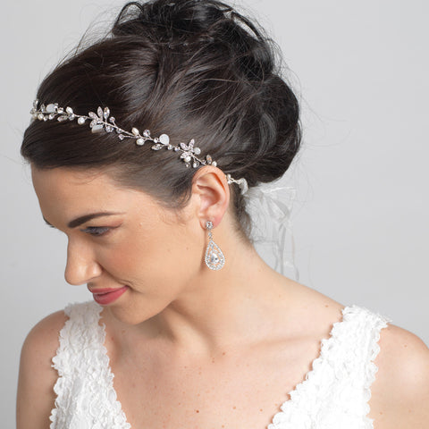 Light Gold Floral Vine Bridal Wedding Headband Organza Ribbon w/ Freshwater Pearls, Rhinestones & Opalescent Beads 1561