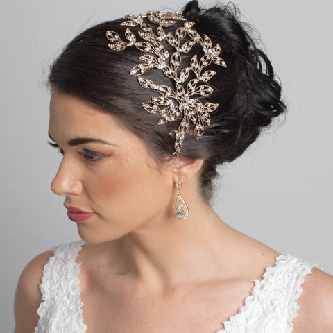 Silver Rhinestone Leaf Bridal Wedding Headband 1589