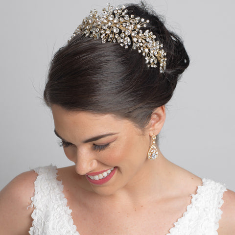 Silver Wired Bridal Wedding Tiara With Crystals Side Headband 4821