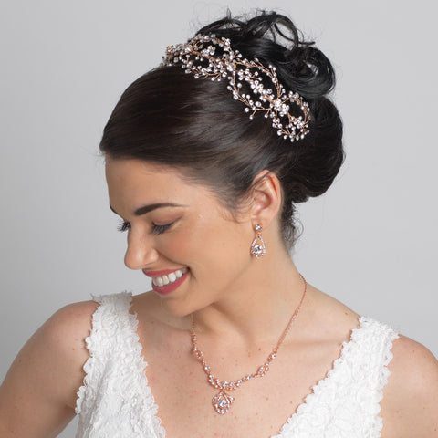 Rose Gold Clear Rhinestone Drop Bridal Wedding Jewelry Set 8265