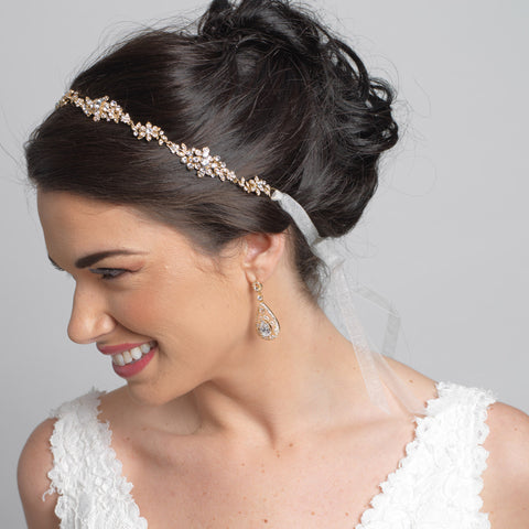 Gold Clear Rhinestone Bridal Wedding Ribbon Headband 3809