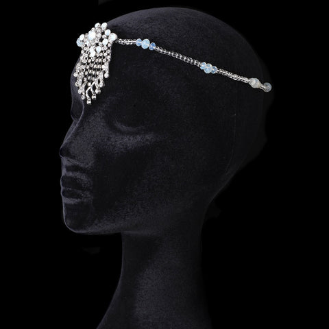 Silver Halo Beaded Bridal Wedding Headband with Opal Swarovski Crystal Beads & Clear Rhinestones