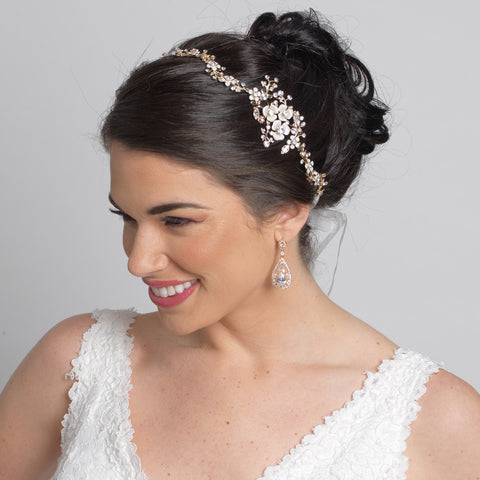 Gold Clear Rhinestone & White Enameled Floral Accent Bridal Wedding Ivory Ribbon Headband 3817