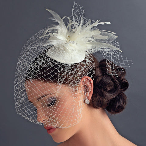 Russian Bridal Wedding Bird Cage Bridal Wedding Veiling Bridal Wedding Hat with Swarovski Crystal & Feather Accents - Bridal Wedding Hair Clip 8366 with Bridal Wedding Brooch Pin