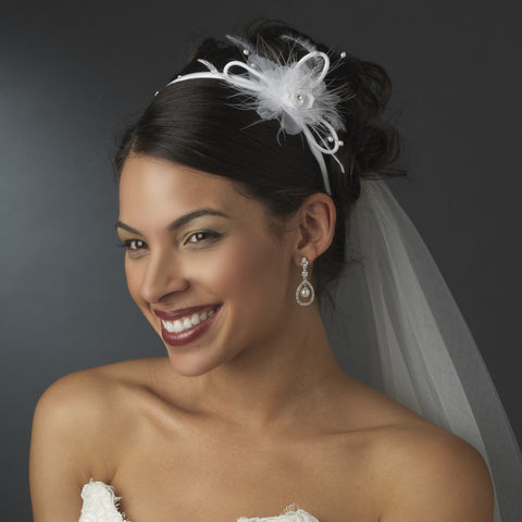 * Flower Feather Accented Bridal Wedding Headband HP 8421 Ivory or White
