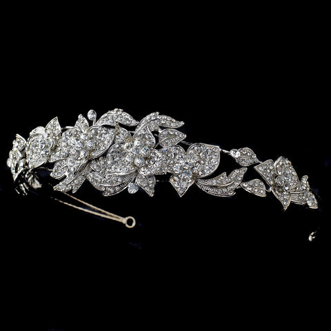 Rhodium Clear Rhinestone Flower Bridal Wedding Side Headband