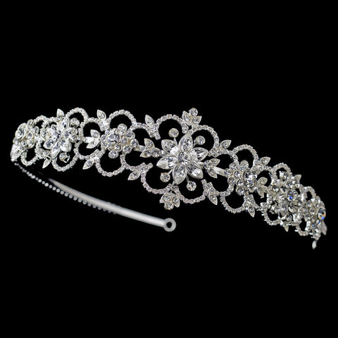 Silver Clear Rhinestone Flower Bridal Wedding Side Headband