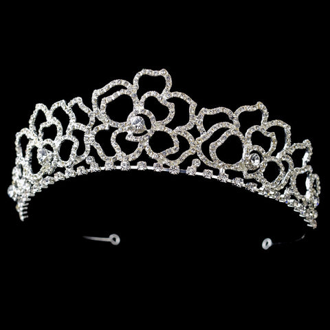 Silver Floral Rhinestone Bridal Wedding Tiara Headpiece