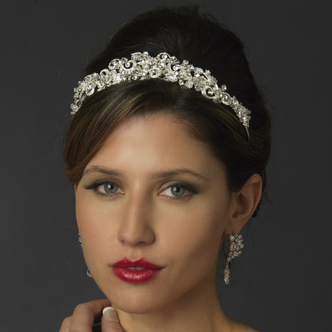 Silver Swirl Princess Leaf Bridal Wedding Tiara Headpiece with Rhinestones & Swarovski Crystal Beads