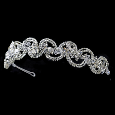 Silver Beaded Swirl Leaf Bridal Wedding Tiara Headpiece with Rhinestones & Swarovski Crystal Beads