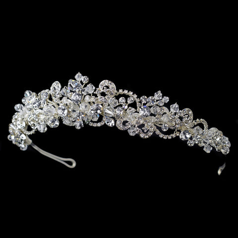 Silver Clear Rhinestone & Swarovski Crystal Bead Bridal Wedding Tiara Headpiece