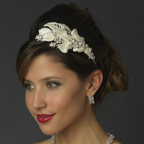 Silver Diamond White Floral Fabric Lace Bridal Wedding Side Headband with Rhinestones & Pearls