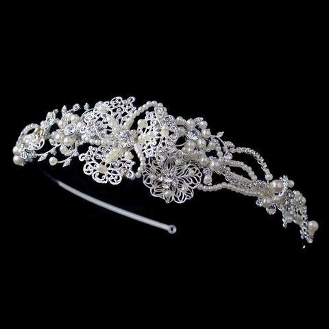 Silver Floral Bridal Wedding Side Headband with Freshwater Pearls & Rhinestones