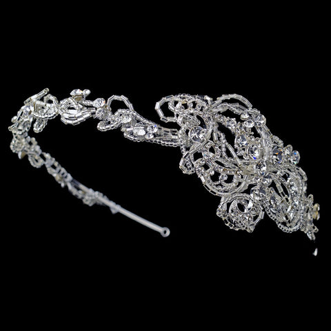 Silver Clear Rhinestone Beaded Twisting Bridal Wedding Side Headband