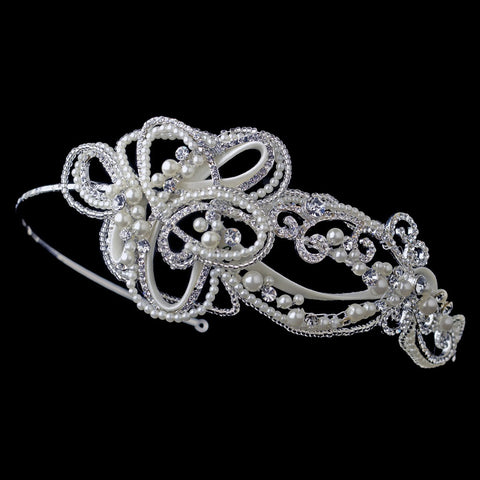 Silver Swirl Matte Satin Ribbon Bridal Wedding Side Headband with Rhinestones & Ivory Pearls