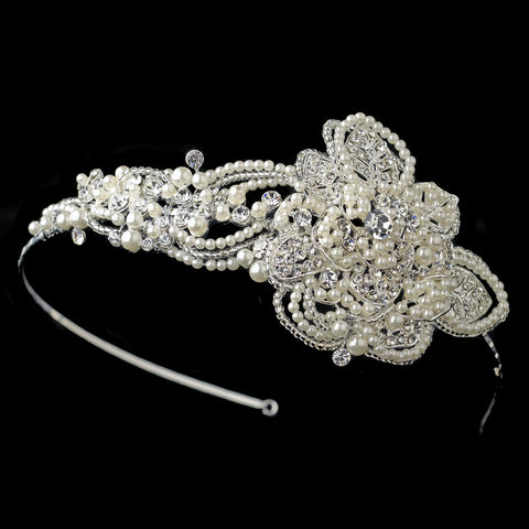 Silver Clear Beaded Floral Leaf Bridal Wedding Side Headband with Ivory Pearls & Rhinestones