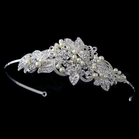 Silver Ivory Beaded Floral Bridal Wedding Side Headband with Pearls & Rhinestones