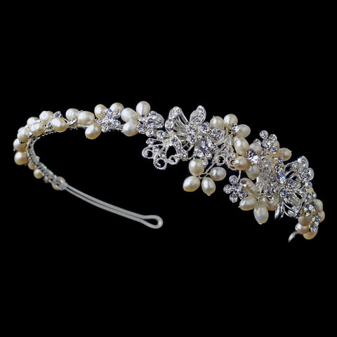 Silver Floral Leaf Bridal Wedding Side Headband with Freshwater Pearls & Rhinestones