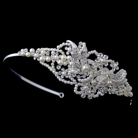 Silver Clear Swirl Rhinestone & Ivory Pearl Bridal Wedding Side Headband