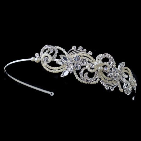 Silver Clear Rhinestone & Ivory Pearl Swirl Bridal Wedding Side Headband