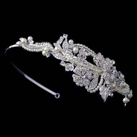 Diamond White Floral Swirl Beaded Bridal Wedding Side Headband with Pearls & Rhinestones