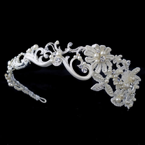 Silver Swirl Matte Satin Lace Bridal Wedding Side Headband with Ivory Pearls & Rhinestones