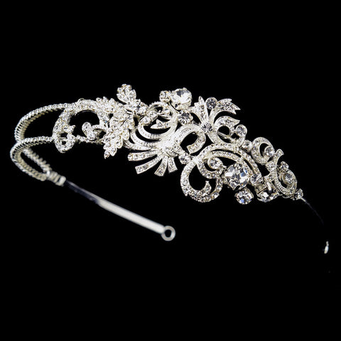 Silver Clear Rhinestone Floral Swirl Double Bridal Wedding Side Headband