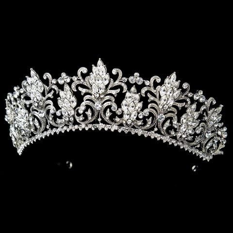 Rhodium Rhinestone Royal Couture Princess Bridal Wedding Tiara
