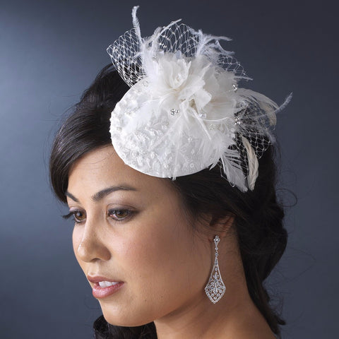 * Embroidered Feather Flower Bridal Wedding Hat Bridal Wedding Hair Comb with Russian Tulle Accent in White or Ivory 3027