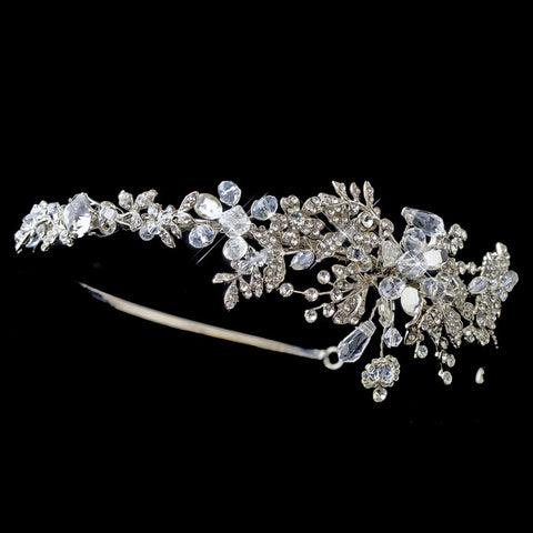 Rhodium Floral Bridal Wedding Side Headband with Swarovski Crystal Beads & Rhinestones
