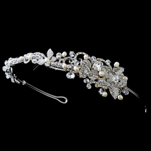 Rhodium Floral Bridal Wedding Side Headband with Freshwater Pearls, Swarovski Crystal Beads & Rhinestones
