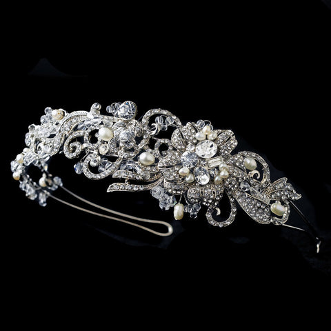 Rhodium Floral Bridal Wedding Side Headband with Swarovski Crystal Beads, Freshwater Pearls & Rhinestones