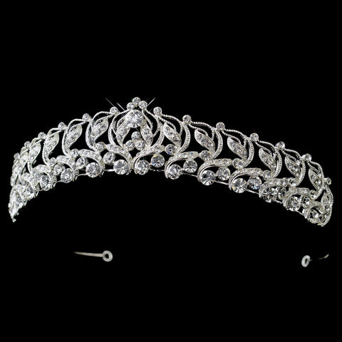 Silver Rhinestone Swirl Princess Bridal Wedding Tiara Headpiece