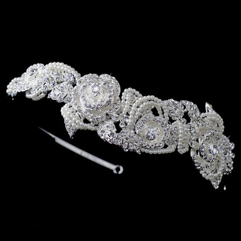 Silver Flower Leaf Bridal Wedding Side Headband with Rhinestones & Ivory Pearls