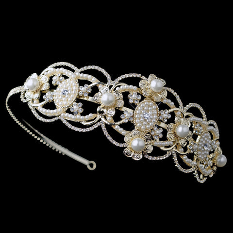 Gold Ivory Pearl Great Gatsby Bridal Wedding Side Headband