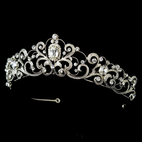 Rhodium Floral Swirl Princess Bridal Wedding Tiara Headpiece with Rhinestones & Gemstones