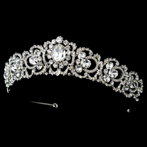 Rhodium Princess Bridal Wedding Tiara with Rhinestones & Gemstones