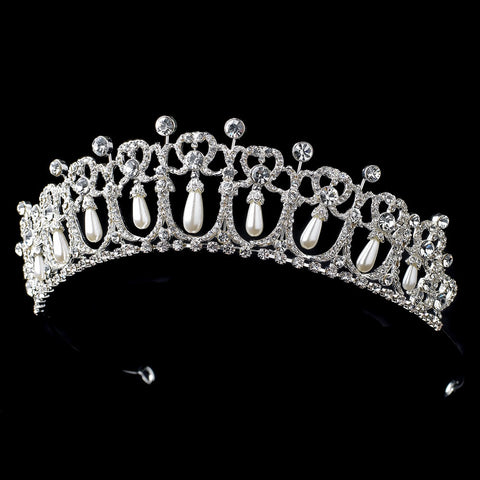 Silver White Pearl Drop & Clear Rhinestone Bridal Wedding Tiara Headpiece