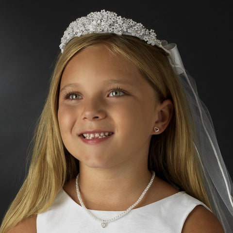 Childrens White Pearl & Rhinestone accent Bridal Wedding Headband & Bridal Wedding Veil HPC 472