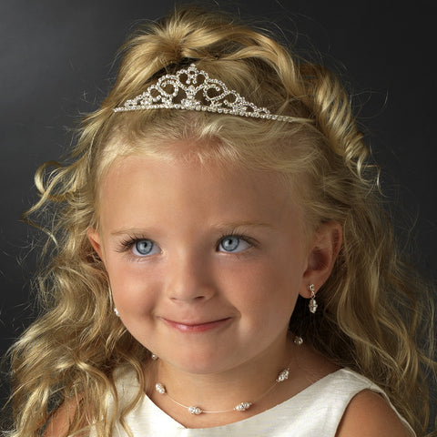 Childrens rhinestone heart crystal tiara HPC 603