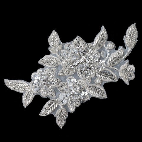 Ivory Floral Leaf Headpiece or Bridal Wedding Belt Applique 3191