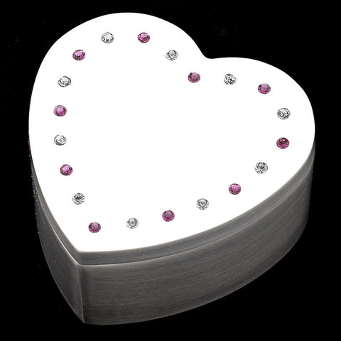 Mini Heart Rhinestone Jewelry Box 3531