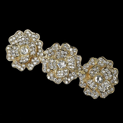 Light Gold Clear Rhinestone Flower Bridal Wedding Hair Barrette 70965
