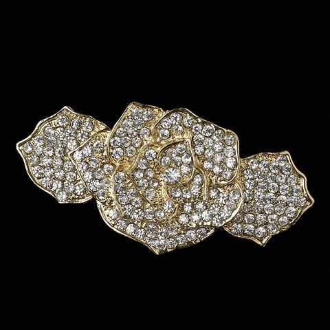 Light Gold Clear Rhinestone Rose Bridal Wedding Hair Barrette