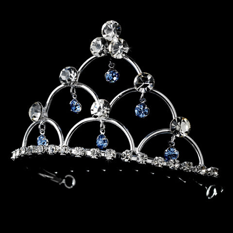 * Silver and Light Blue Child's Bridal Wedding Tiara Bridal Wedding Hair Comb HPC 500