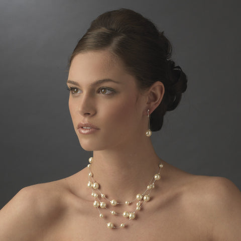 Modern Champagne Pearl Dangle Bridal Wedding Earrings 8358