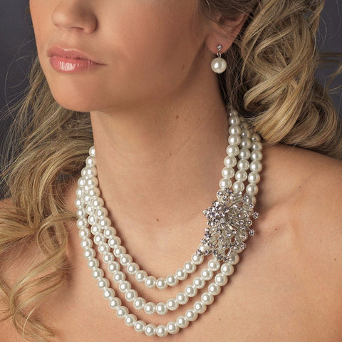 Silver White Bridal Wedding Necklace Earring Set 12508
