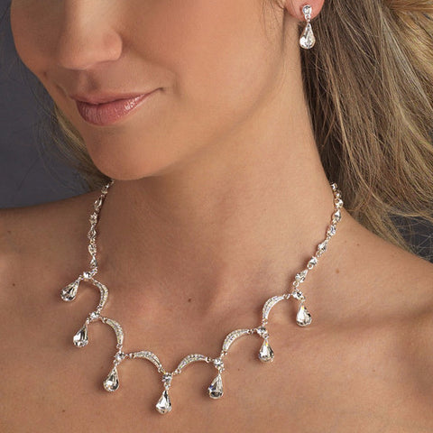 Silver Clear Bridal Wedding Necklace Earring Set 71562