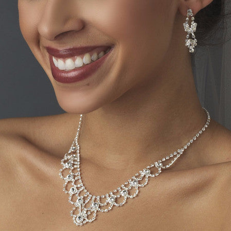 Fabulous Silver Clear Rhinestone Bridal Wedding Necklace & Earring Set 1021